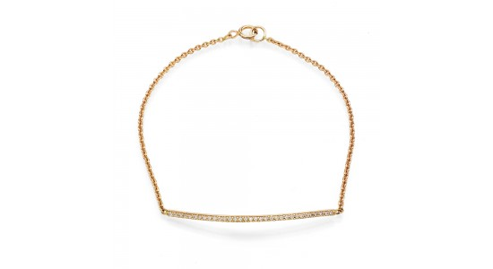 2. Phoenix Rose 14K Gold Bar Pave Bracelet in White Diamonds