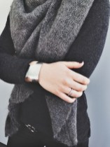 Orenburg Shawl, Barrow & Grove Cashmere Sweater, Mata Traders Cuff