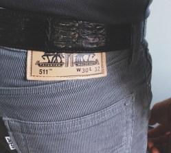 Croc Belt from Bergdorf Gooman, Levi's Corduroy Skinny Pants