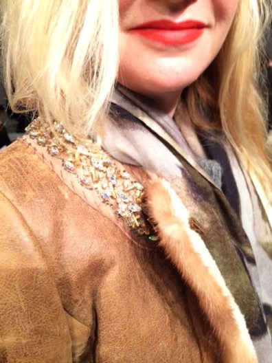 Prada Beaded Shearling Jacket, Zara Scarf
