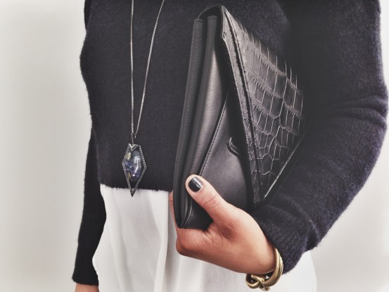 LRVT Clutch, LRVT Pendant Sapphire Necklace, Zara Sweater, H&M Blouse