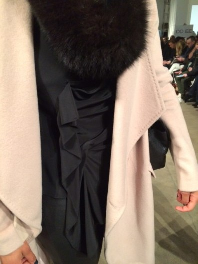 BCBG Coat, Derek Lam blouse, Chanel Bag, Black Fur Scarf