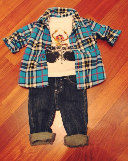 Gap Kids flannel button down shirt, Gap Kids Muppets T-Shirt (He always wear fun graphic t-shirts), Joe's Jeans from Nordstrom