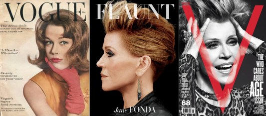 Jane Fonda on the covers of Vogue (1959), Flaunt (2013), V Magazine (2010)