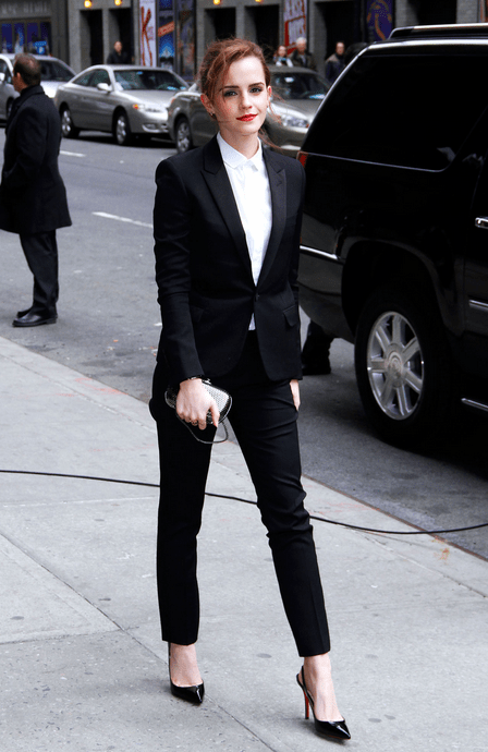 "Emma Watson in Saint Laurent and Christian Louboutin on ""Late Show with David Letterman"""