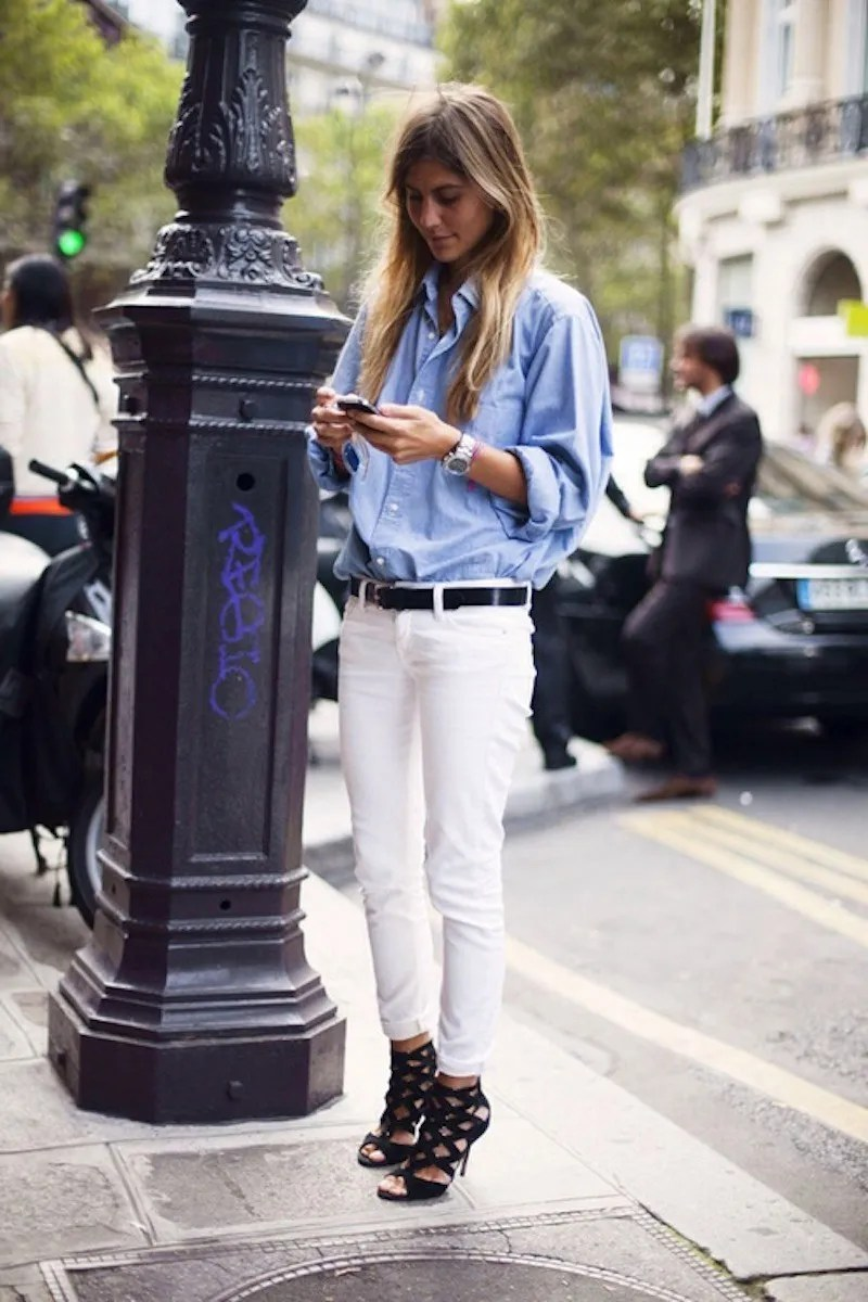 oversized shirt and white jeans