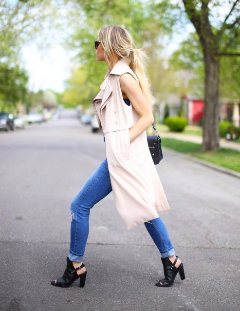 Sleeveless Trench Street Style Bare Foot Blonde
