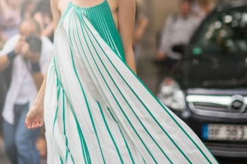 Elena Perminova Long Pleated Dress