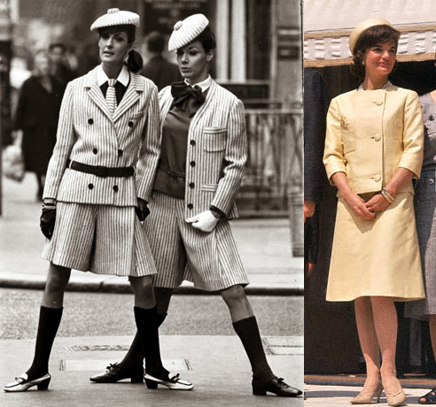 Two London birds wear Christian Dior's striped suits, 1966; Jackie Kennedy