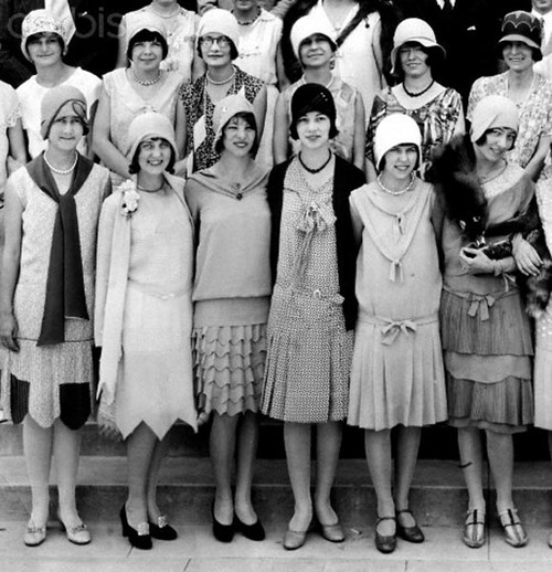 A group of high school flapper girls pose for formal portrait, ca. 1925
