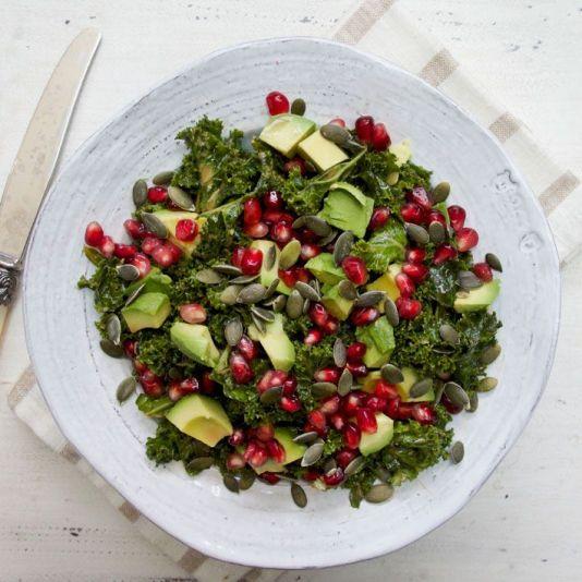 Marinated Kale salad via www.deliciouslyella.com