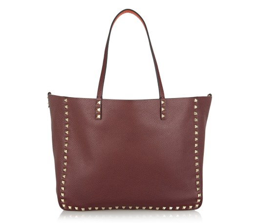Valentino Rockstud Medium Reversible Textured Leather Tote