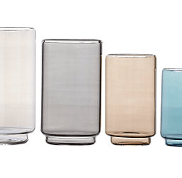 "This set of Case Rialto glass containers are perfect for a kitchen surface or dining room. They range from 9"" in height down and I love the muted tones"