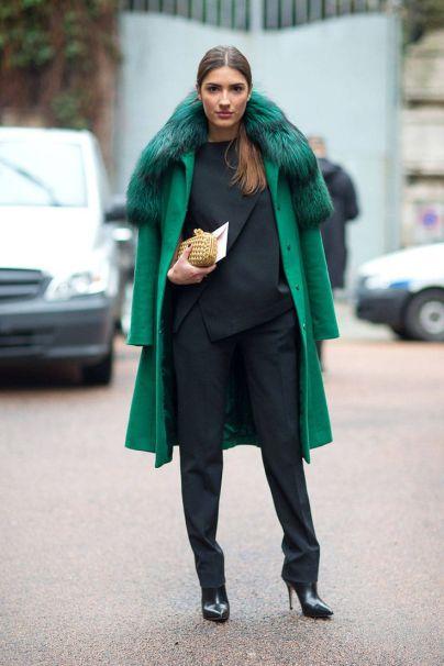Green coat street style