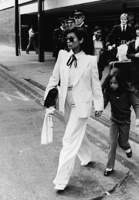 Bianca Jade Jagger white pantsuit