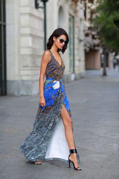 Printed wrap dress street style