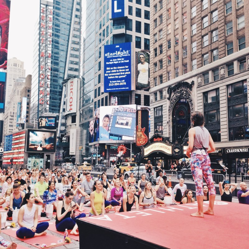 Lauren Imparato teaching a class at Summer Solstice Times Square
