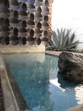 The gazing pool with mid-century sculptural wall mixed with natural vegetation is completely zen and uber chic - Ommmm...