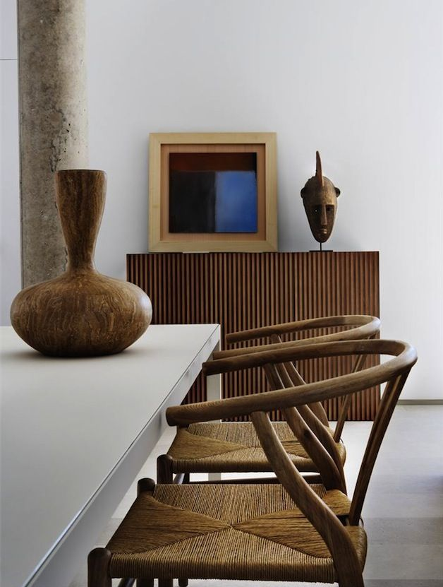 Using Tribal Art With Classic Asian Chairs Creates A Zen Moment In This  Urban Dining Room