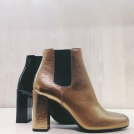 Celine metallic block heel bootie