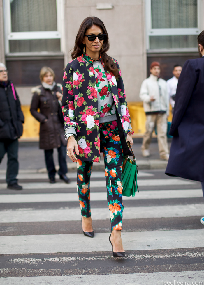 whimsical street style mix of floral patterns