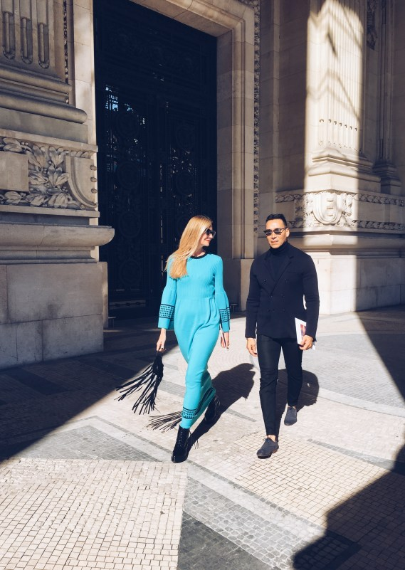 lisa marie mccomb and jesse garza paris fashion week street style