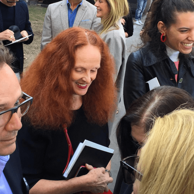 Grace Coddington outside Celine SS2016