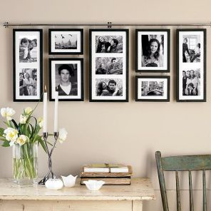 Keeping your galley wall symmetrical and orderly is another contemporary option that is easy to enjoy. A great option for family photos in a sleeping or less formal area of your home.