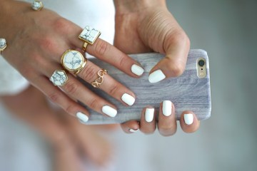 Marble iphone cover wood rings