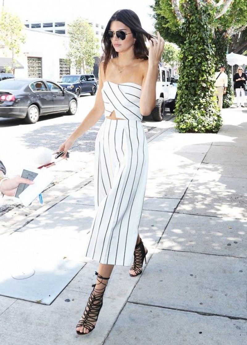 Kendall Jenner matching white striped set