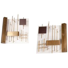 Gio Ponti Sconces on either side of cabinet