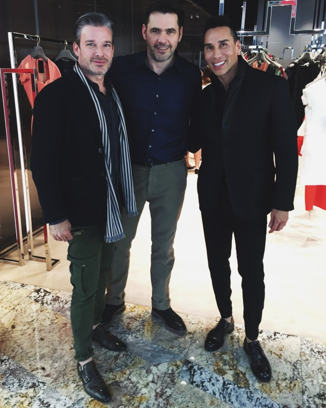 Our Co-founders Joe Lupo and Jesse Garza pose for a photo with the designer himself, Roland Mouret.