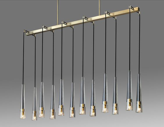 This customizable chandelier by Local New York artisan Jonathan Browning is a go to favorite for above bars or countertops or even in long hallways with high ceilings.