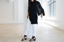 Gabriela Ribeiro new york stylist white jeans, tunic and moto jacket | Visual Therapy