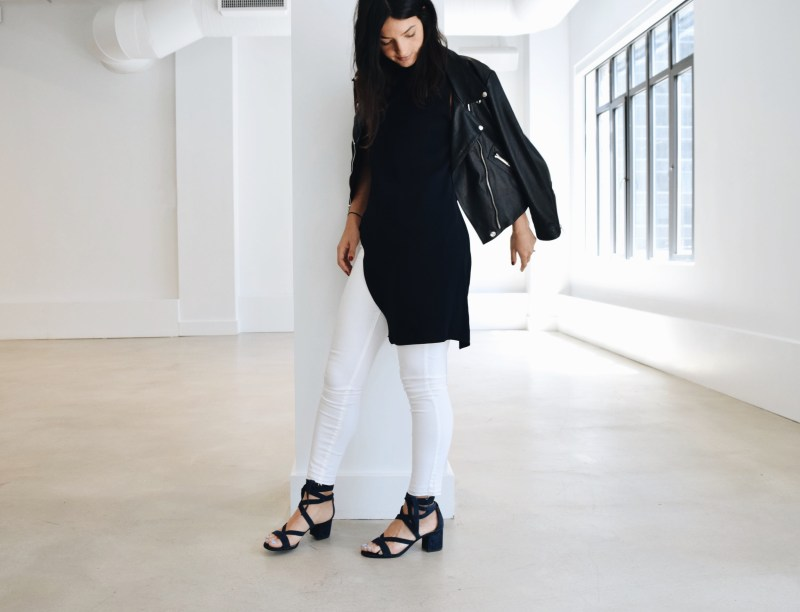 Gabriela Ribeiro new york stylist white jeans, tunic and moto jacket   Visual Therapy
