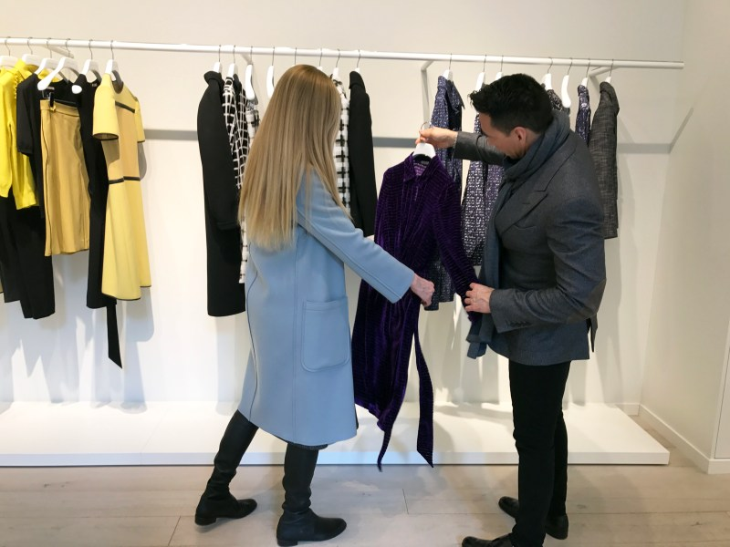 Stylists Jesse Garza and Lisa Marie shop at bottega veneta