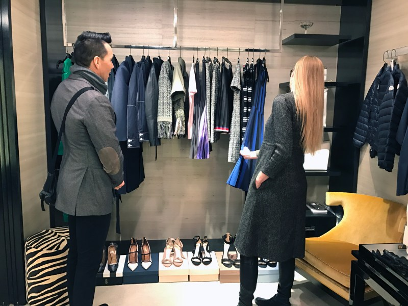 stylists jesse garza and lisa marie mccomb shop for clients at bergdorf goodman