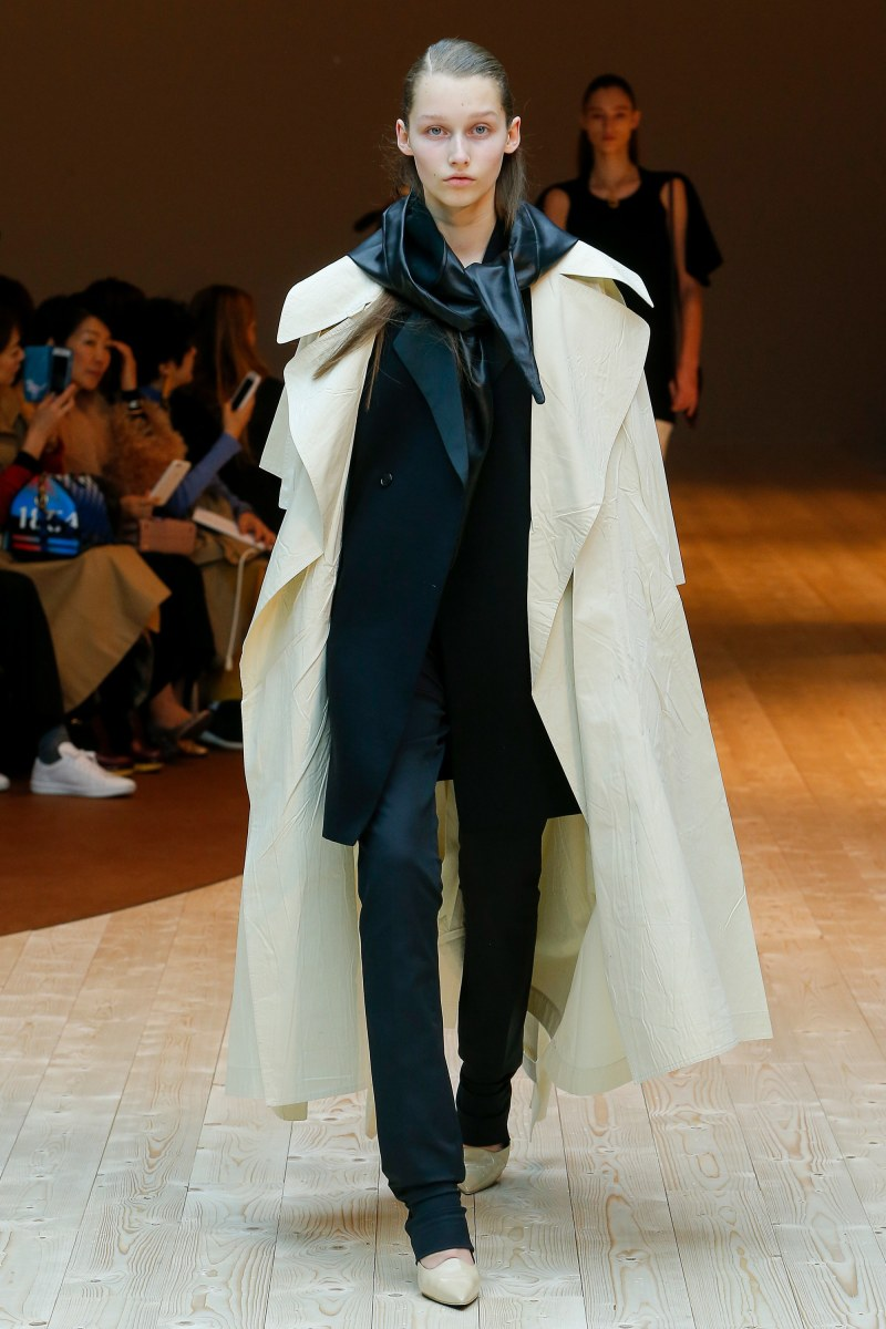 model walks the celine 2017 fall runway show in paris