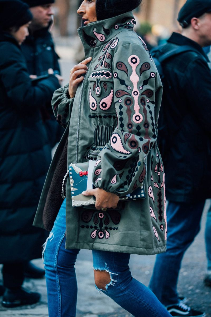 Embroidered jacket street style