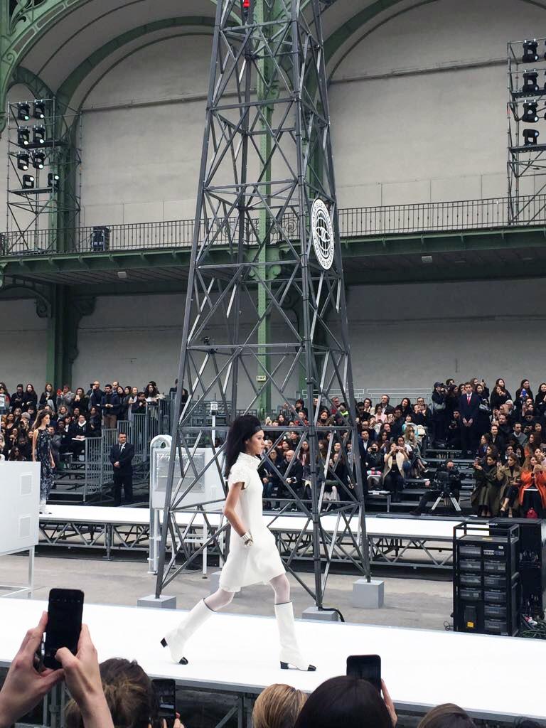 Model walks down runway at Chanel fall 2017 show in paris