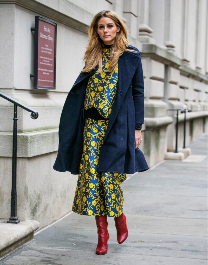 Floral dress and red booties on olivia palermo