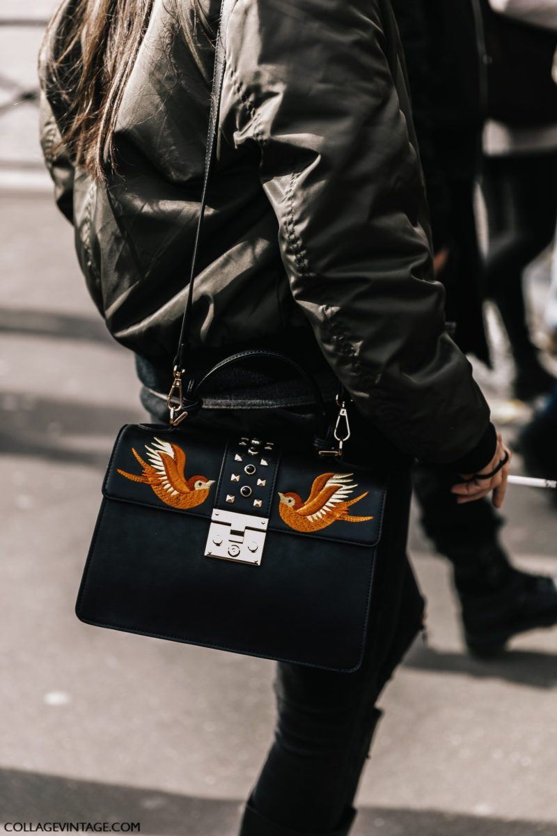 Embroidered bag street style