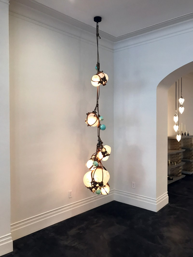 hanging lighting fixture at roll & hill lighting showroom