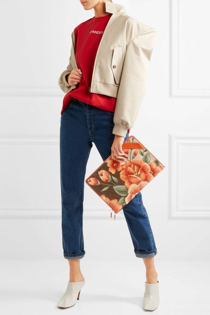 Balenciaga orange floral pouch