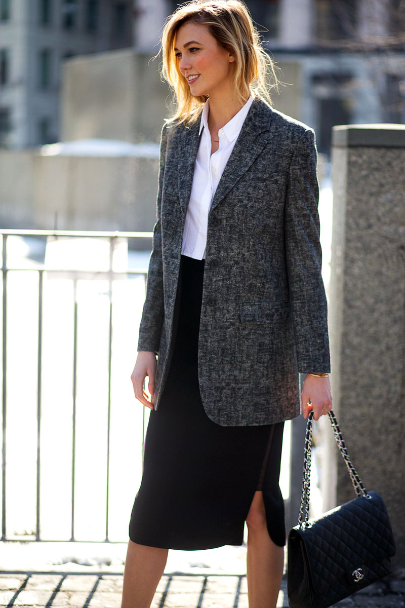 classic style type street style work outfit karlie kloss in white button down, oversized blazer and skirt