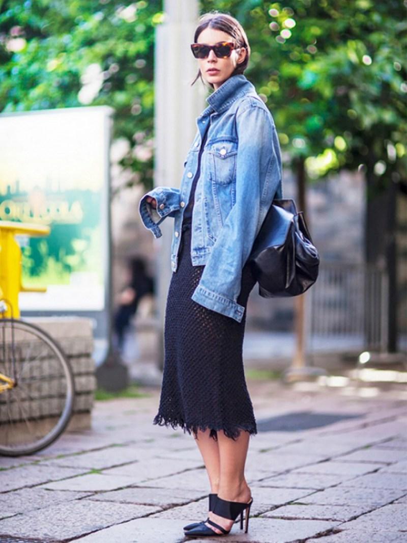 Denim jacket with mesh skirt street style