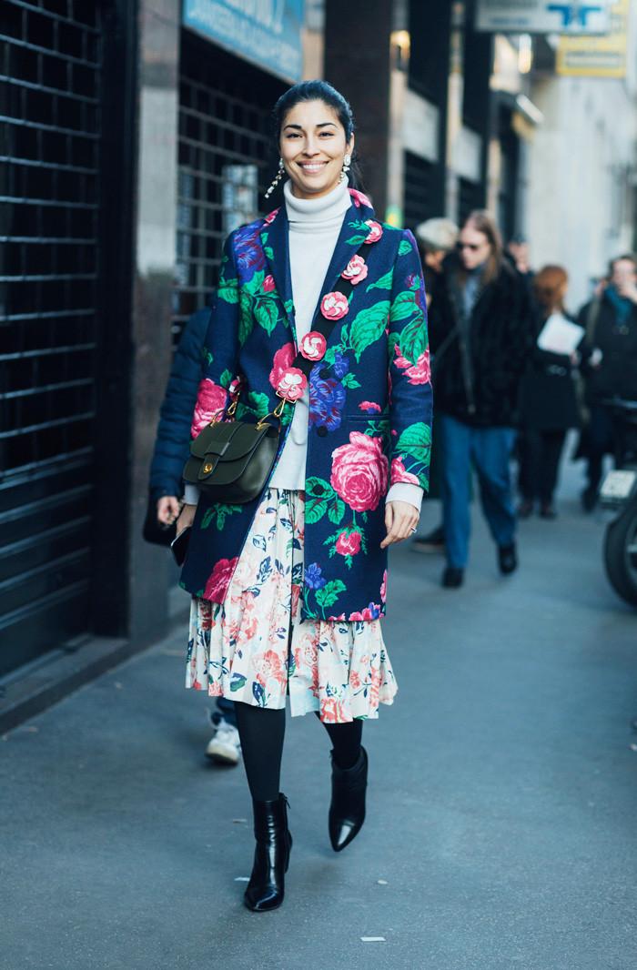 причудливый стиль типа уличный стиль с цветочным принтом жакет и юбка