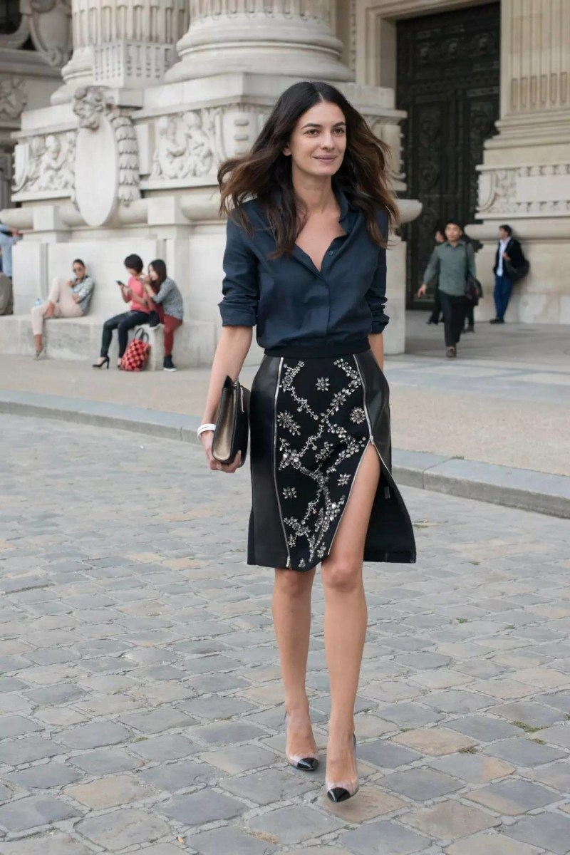 classic style type street style black button down blouse with skirt