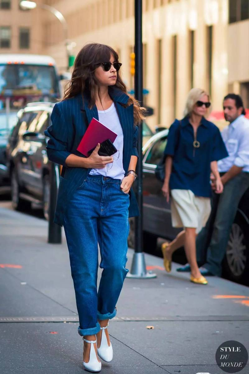 miraslova duma in a blazer, white tee and jeans