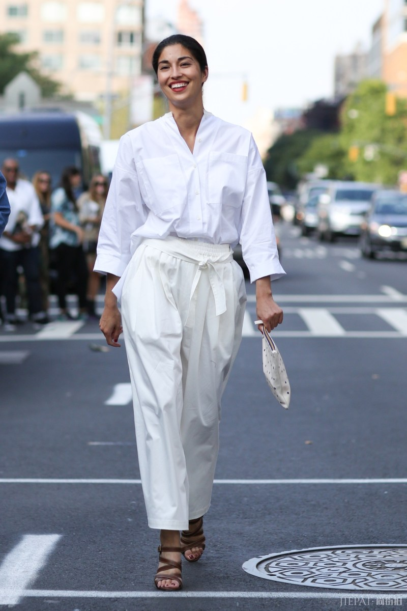 white button down and white pants street style